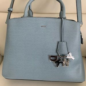 DKNY Paige Leather Large Satchel Bag in Light Blue